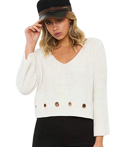 YAANCUN Mujer Invierno Diseño Hueco Color Sólido Suéter Cuello V Casual Tejido De Punto De Manga Larga Jerseys Blanco