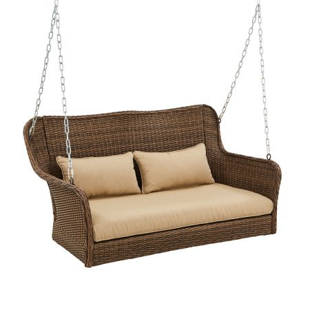 Camrose Farmhouse Wicker Porch Swing, Gray/Brown