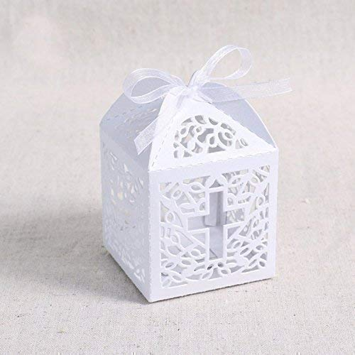 Christening Party Favors - 50pcs Cross Laser Cut Favor Box Christening Baby Shower Bomboniere with Ribbons Party Favors