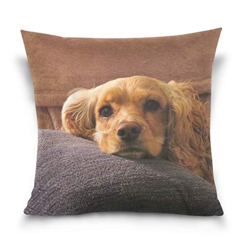 SUABO Cute Cocker Spaniel Pattern Cotton Velvet Decorative Throw Pillow Case Cushion Cover 18 X 18 inch