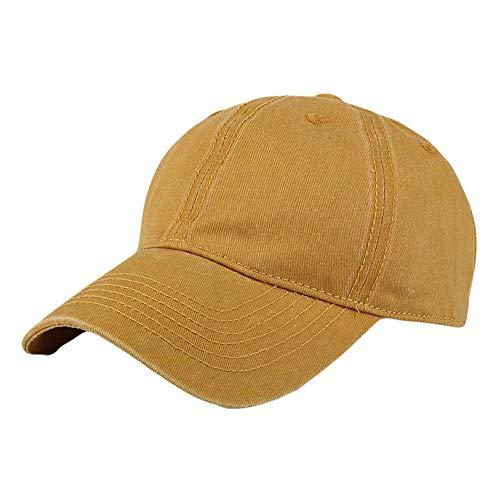 ⚡HebeTop ⚡Men Women Washed Twill Cotton Baseball Cap Vintage Adjustable Dad Hat Yellow]()