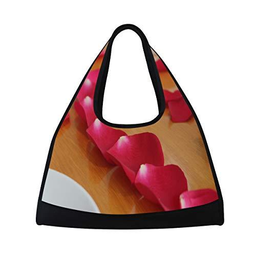 Gym Bag Flower Petal Love Heart Women Yoga Canvas Duffel Bag