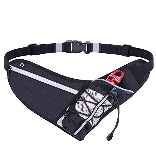 QBStrong Ultra Light Running Belt with Water Bottle Holder, Water Resistant Reflective Running Belt Pouch, Fit iPhone X 8 Plus, Galaxy s9 8 Ideal for Cycling, Fitness, Jogging (Black)