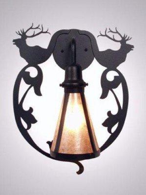 Steel Partners Lighting BAV2230 Sconce Bavarian Elk 60 Wattage, Black Finish White Mica