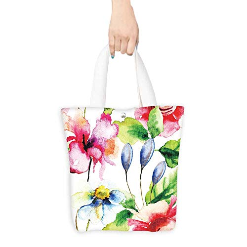 - Tote Shopping Handbags Seamless wallpaper with summer flowers,watercolor Good permeability W11 x H11 x D3 INCH