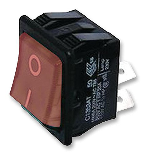 Illuminated On-Off Red ARCOLECTRIC C1353AABR2-B Rocker Switch 16 A Panel DPST