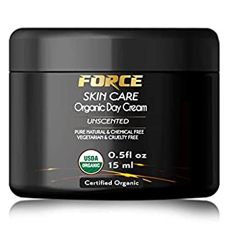 Organic Daily Facial Moisturizer Day Cream for Women and Men- USDA Certified Organic with Bilberry, Burdock and Jojoba-Fragrance Free