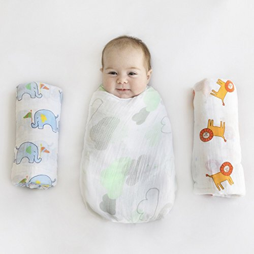 "Muslin Swaddle Blanket Organic Cotton Baby Receiving Blanket Gift Set - 3 Pack - Extra Large 48"" x 48"" - Soft Neutral Boy or Girl"