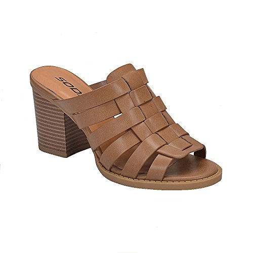 Wooden Slides Sandals (Soda Women's Vision Strappy Heel Sandal (6.5, Tan))