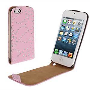 Diamond Flower Texture Up and Down Open Flip Leather Case for iPhone 5 (Pink)