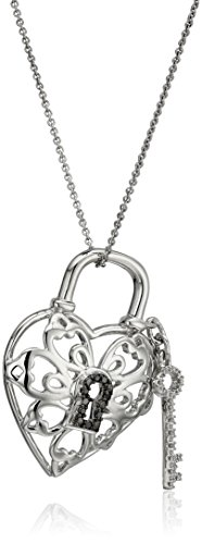 Sterling Silver Diamond Lock and Key Heart Pendant Necklace (1/10 cttw), 18