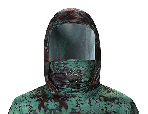 Performance Fishing Hoodie with Face Mask Hooded Sunblock Shirt Sun Shield Long Sleeve Shirt UPF 50 Dry Fit Quick-Dry