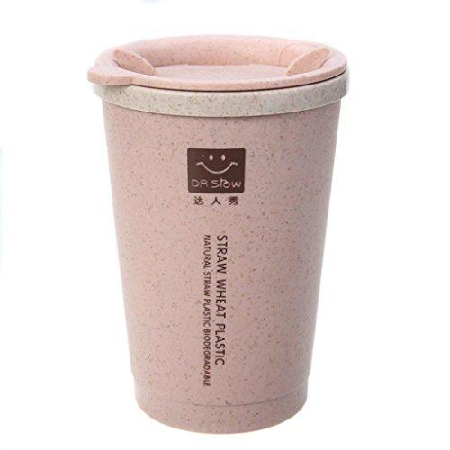 YJYdada 280ML Wheat Straw Portable Double-Wall Portable Office Coffee Tea Mug Cups Gifts (Pink)