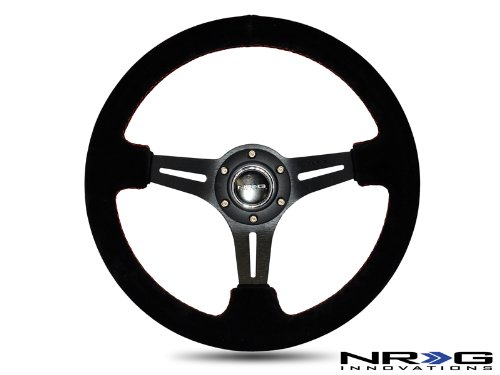 "NRG Steering Wheel - 18 (Deep Dish) - 350mm (13.78 inches) - Black Suede Leather with Red Stitching - Black Spokes - 2"" Deep Dish - Part # ST-018S"