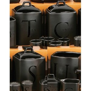 Set Of 4 Black Text Ceramic Tea Coffee Sugar Utensil Jar Canister Storage Set by PRIME FURNISHING