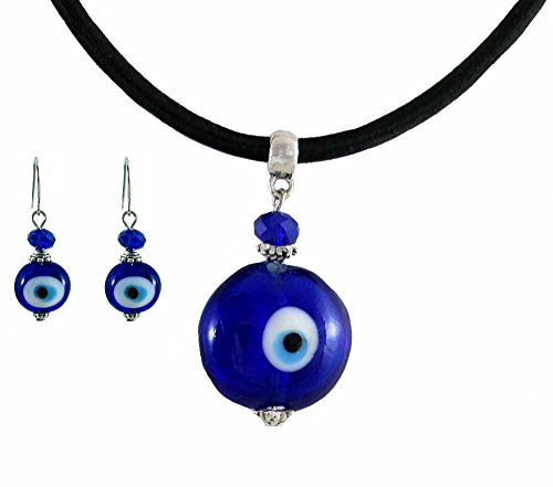 Blue Evil Eye Necklace & Earring Set ~ Organza Gift Bag Included (Eye Gift Bags)