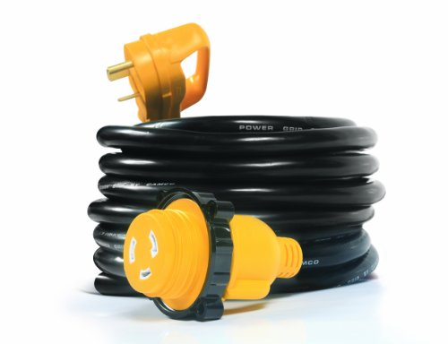 Camco Heavy Duty PowerGrip 25' Cord with 30 AMP Male Standard/30 AMP Female Locking Adapter- Threaded Locking Ring Ensures a Weatherproof Connection (55501)