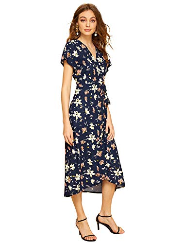 Chiffon Floral Wrap (Milumia Women's Boho Deep V Neck Floral Chiffon Wrap Split Long Dress Navy-3 S)