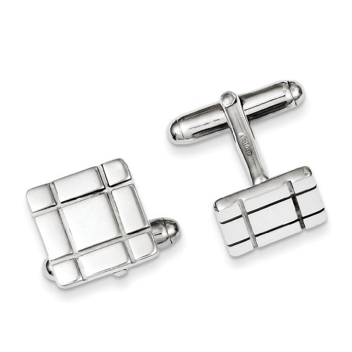 West Coast Jewelry Sterling Silver Grooved Design Cuff Links