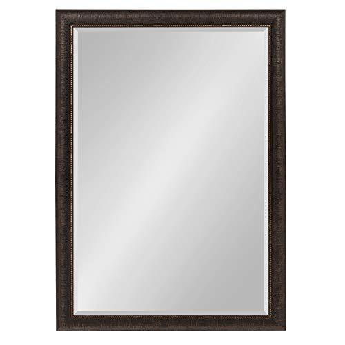 Kate and Laurel Aldridge Framed Wall Mirror, 28x40, - Black Framed Rubbed Bathroom Bronze Oil Lights Mirrors