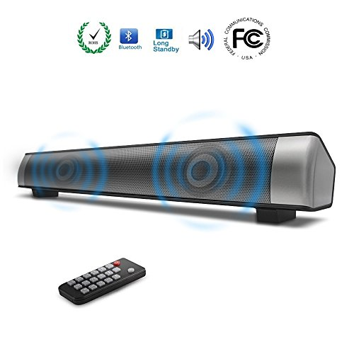 Sanwo Wireless Bluetooth Soundbar Channel 2.0 TV Sound Bar with 3.5mm Aux TF Card LED Indicator, 10W Stereo Speaker with Clear Treble Built-in Microphone(Black)
