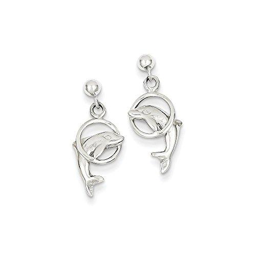 14k Gold Dolphin Dangle - 14K White Gold Dolphin Dangle Earrings