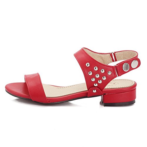 AmoonyFashion Womens Buckle Low-heels PU Solid Open-Toe Sandals Red RcT0dnOyXu