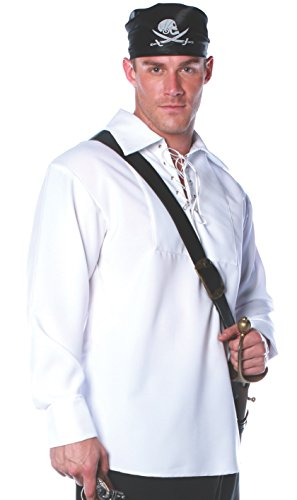Underwraps Costumes Men's Pirate Shirt Costume, White,