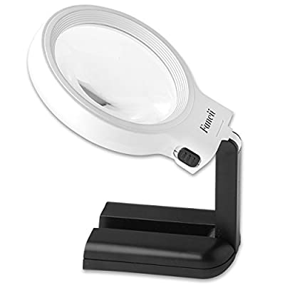 Fancii LED Lighted Hands Free Magnifying Glass with Light Stand - 2X 4X Large Portable Illuminated Magnifier for Reading, Inspection, Soldering, Needlework, Repair, Hobby & Crafts: Toys & Games