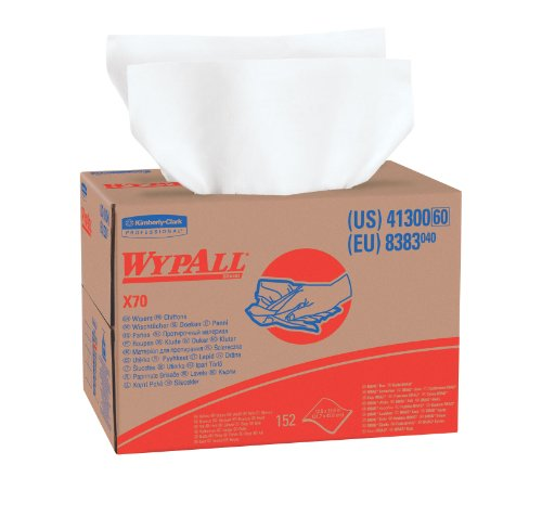 WypAll X70 Extended Use Reusable Cloths (41300), Brag Box, Long Lasting Performance, White, 1 Box, 152 Sheets by Kimberly-Clark Professional (Image #1)