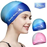 Swim Apex Swim Caps for Long Hair (2 Pack), Durable Silicone Swimming Caps for Women Men Adults Youths Kids, Easy to Put On and Off, Cover Ears