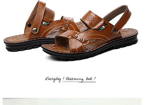 estate vera pelle sandali traspirante Tempo libero Spiaggia scarpa sandali Uomini Tempo libero scarpa ,giallo,US=7,UK=6.5,EU=40,CN=40