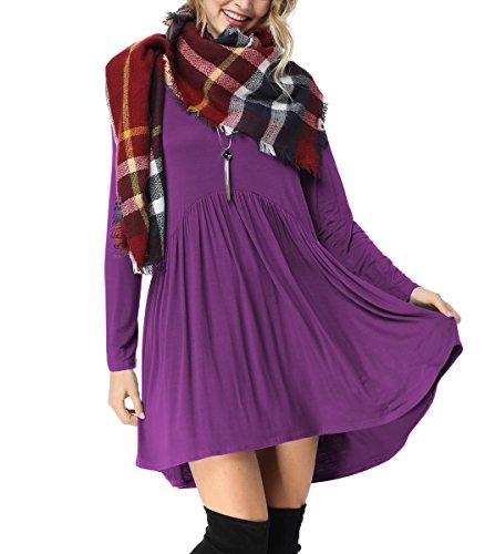 iGENJUN Women's Scoop Neck Long Sleeve Tunic Casual Loose Basic Shirt Dress,M,Purple (Sleeve Neck Dress Scoop Long)