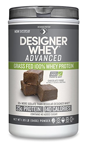 Designer Protein Whey Grass-Fed Advanced Natural Whey Protein Powder, Chocolate Fudge, 1.85 Pound