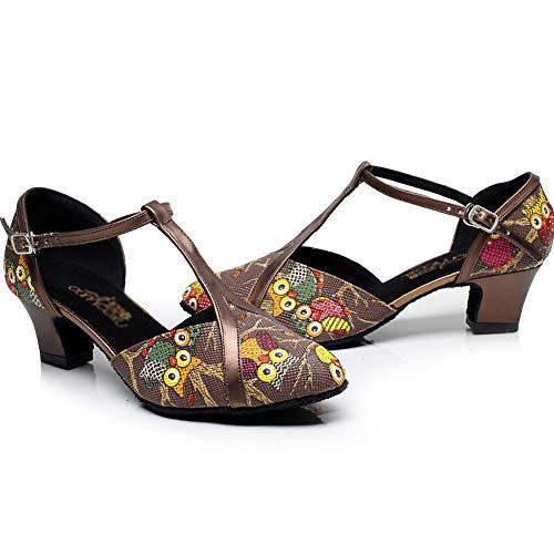 Bajo Alto Baile Tacones Pu strap Hebilla Zapato Mujer Latino Tacon Jryyue Brown5cm Tobillo T Mediados Tacón xYzwO7dq