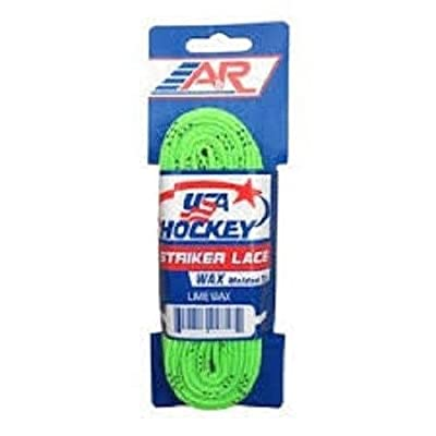 A&R New 2 Pk USA Hockey Striker Waxed Molded Tip Skate Laces Lime Green 72
