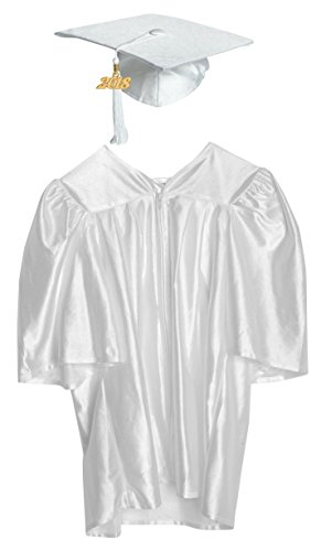 Budget Graduation White Shiny Preschool Cap and Gown Graduation Set - Large, Includes Tassel and (Preschool Graduation Gowns)