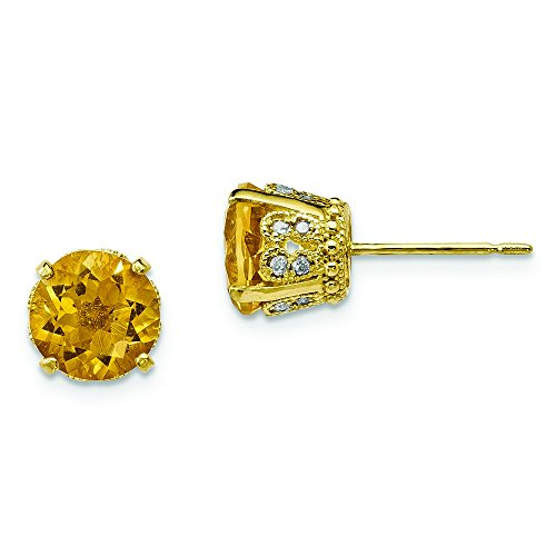 6.9mm 10k Tiara Collection Polished Diamond Citrine Post Earrings by JewelryWeb
