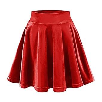 b6faf8388d0 Urban CoCo Women s Vintage Velvet Stretchy Mini Flared Skater Skirt ...