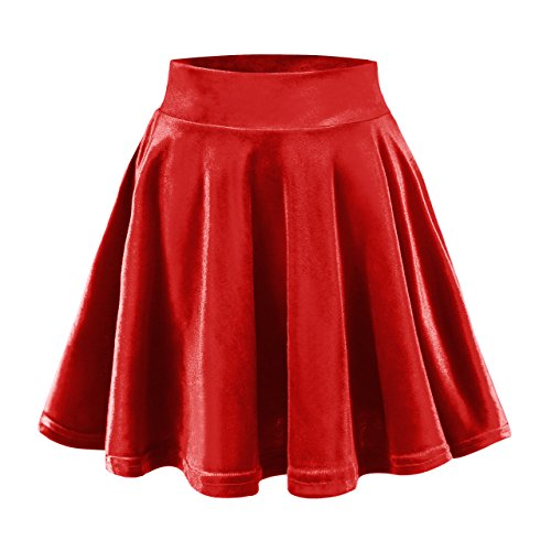 Urban CoCo Women's Vintage Velvet Stretchy Mini Flared Skater Skirt (M, Bright red)