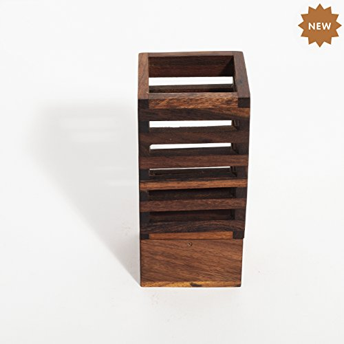 Hand Carved Secretary Desk - Rusticity Wooden Pencil/Pen Holder for Desk, Office and Home   Handmade   (2.6x2.6x5.4 in)