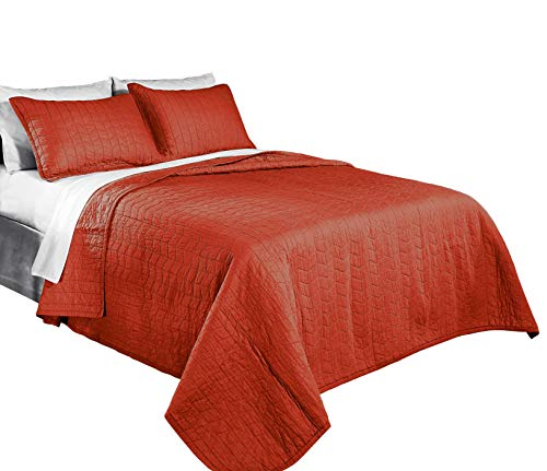 Chezmoi Collection 3-Piece Vintage Washed Solid Cotton Quilt and Shams Set, Full/Queen, Rust Orange