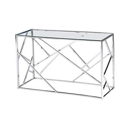 Best Master Furniture E26 E-Design Angled Frame Sofa Table, Stainless Steel