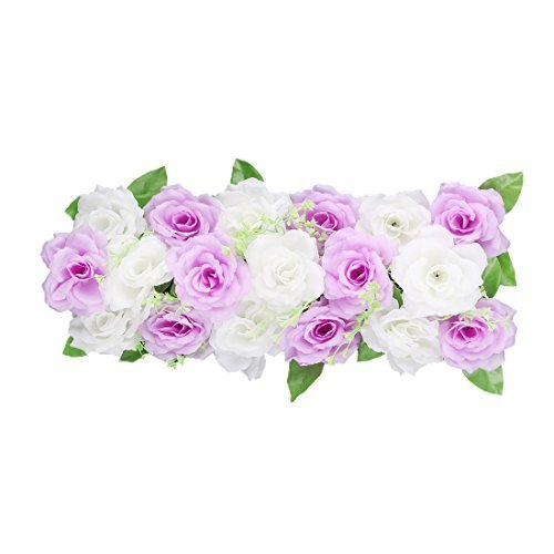 eDealMax Tessuto Wedding Party Muro Arco FAI da te appeso Fiore artificiale Ghirlanda Decor Viola Bianco