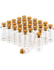 com-four® Kruidenpotje set met kurk, glazen miniflesje, snoepjespotje set, opslag van oliën, specerijen, kruiden of thee ca. 10 ml