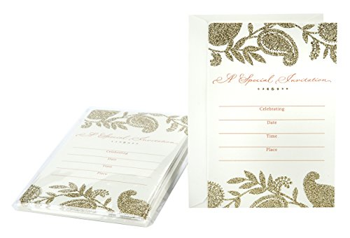 Hallmark Special Occasion Invitation Cards (Gold Glitter)