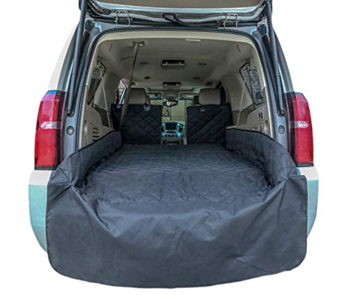 - Plush Paws Refined Cargo Liner for Dogs and Pets - Waterproof & Nonslip Silicone Backing for Trucks & Suv's, YKK Zippers and Bumper Flap (Extra Large, Black)