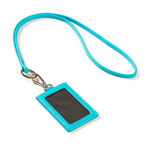 - Vertical Lanyard - Full Grain Leather - Teal (Blue)