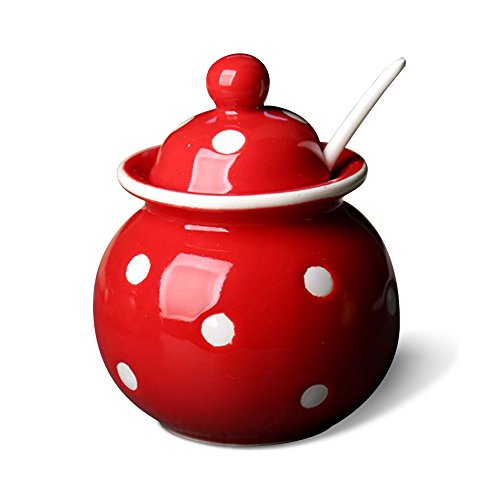 - DoDola Ceramics Dot Pattern Sugar Bowl Spice Jar Seasoning Box with Lid and Spoon 8 Ounces, Red