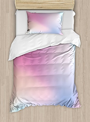 Ambesonne Pastel Duvet Cover Set Twin Size, Abstract Blurry Colors Composition Sweet Daydream Fantasy Miscellaneous, Decorative 2 Piece Bedding Set with 1 Pillow Sham, Pink Aqua Peach White